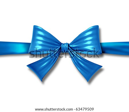 ribbon bow gift blue isolated silk tape box horizontal christmas package - stock photo