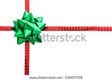 Ribbon bow in Christmas color, isolated on white with space