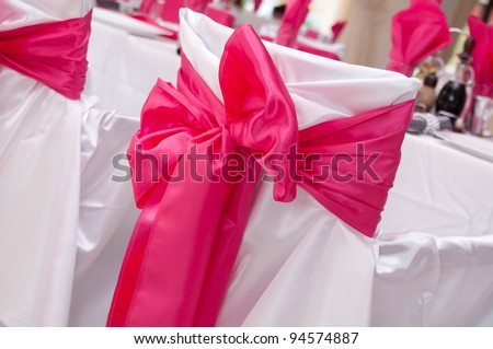 Ribbon decoration on wedding - stock photo