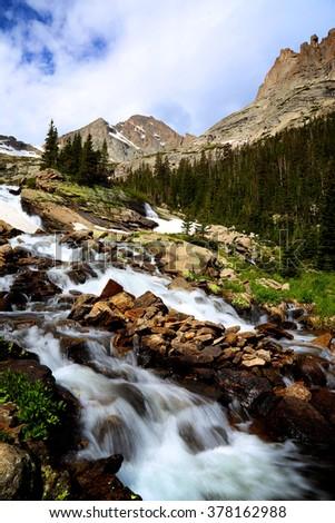 Ribbon Falls Rocky Mountain National Park Colorado - stock photo