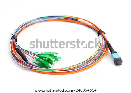 Ribbon fiber optic fun out patchcord with connector MTP isolated on white background - stock photo