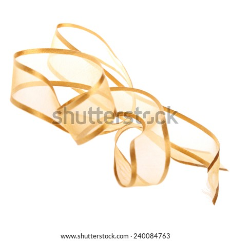 Ribbon from fabric  isolated on a white background