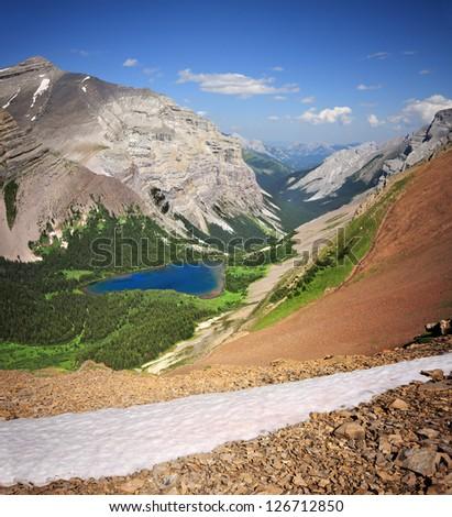 Ribbon Lake, Mount Bogart Kananaskis Park, Alberta, Canada. As view from 20 minute hike up from Guinn Pass. - stock photo
