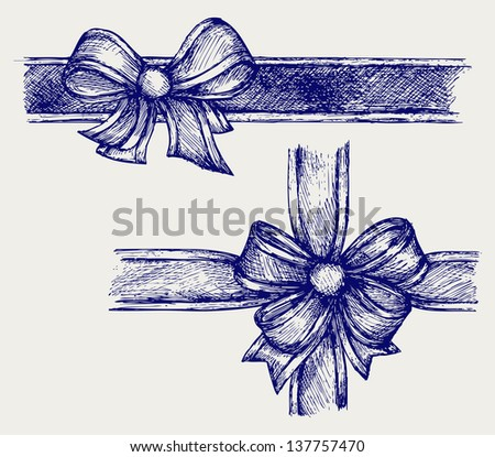 Ribbon with bow. Doodle style. Raster version - stock photo