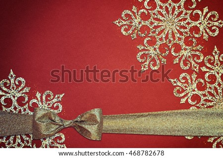 Ribbon with snowflakes, Paper textured background