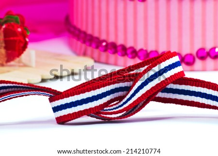 ribbon with thai flag pattern