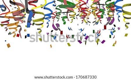 ribbons carnival party background - stock photo