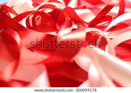 ribbons on the red - stock photo