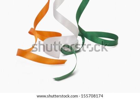 Ribbons representing Indian flag colors - stock photo
