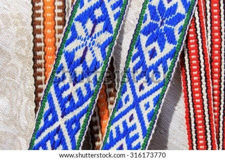 Ribbons with ethnic slavonic ornament