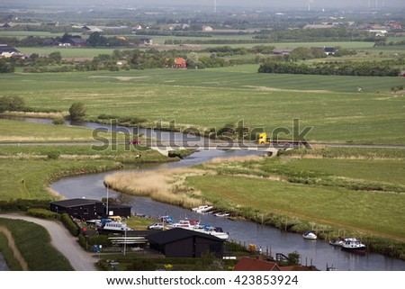RIBE, DENMARK â?? MAY 18 2016:  view from Ribe Cathedral Tower - Ribe River and marsh landscape May 18. 2016, Ribe, Denmark. - stock photo