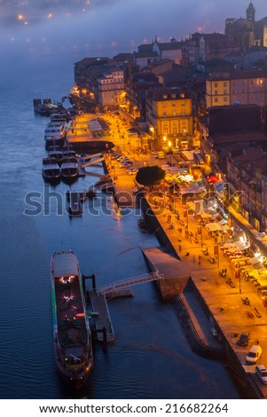 Ribera embankment in  old town of Porto at night, Portugal - stock photo