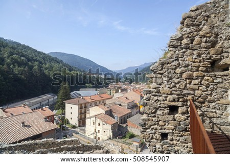 RIBES DE FRESER,SPAIN-JULY 13,2015: Ruins medieval castle and village view in Ribes de Freser, province Girona, Catalonia.