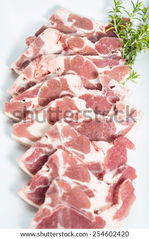 Ribs fresh and raw lamb to grilled - stock photo