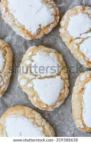 Ricciarelli from Siena(Italian almond cake) - stock photo