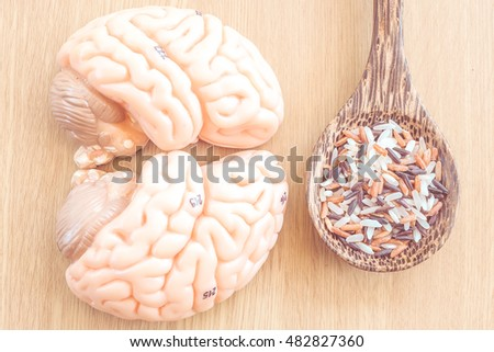 rice and brain on wooden spoon with vintage color style
