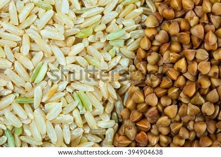 Rice and buckwheat background close up - stock photo