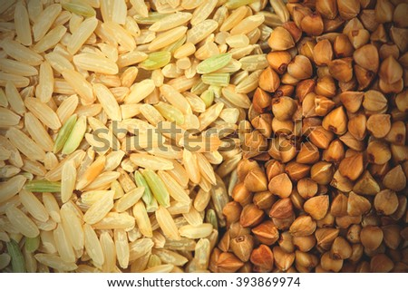 Rice and buckwheat background close up. instagram image filter retro style - stock photo