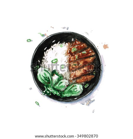 Rice and Chicken - Watercolor Food Collection - stock photo