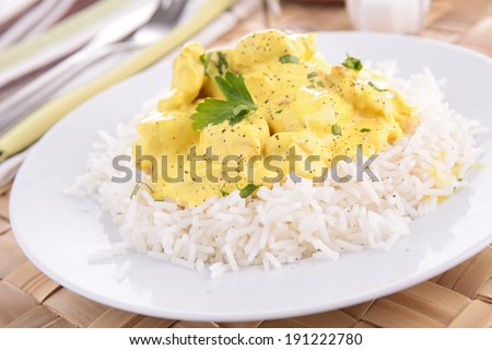 rice and curry chicken - stock photo