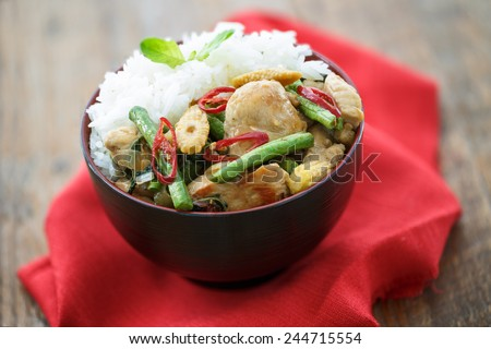 Rice and fried minced chicken with vegetable, Thai food - stock photo