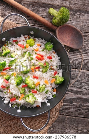 rice and vegetable - stock photo