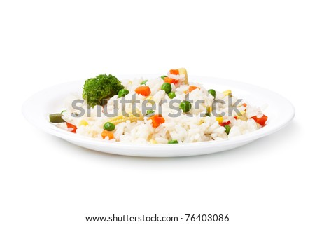 Rice and vegetables on a white background - stock photo