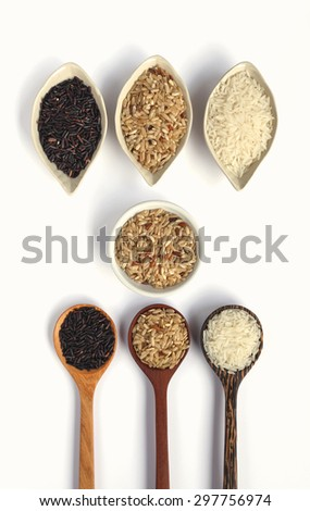 Rice and wooden spoon design on white background