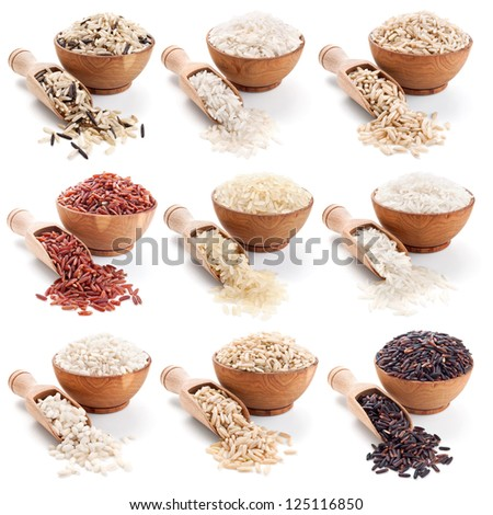 Rice collection isolated on whte background - stock photo