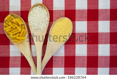rice, couscous and macaroni tablecloth background