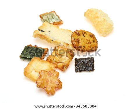 Rice cracker in a white background
