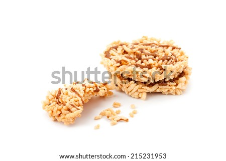 Rice cracker isolated on white background