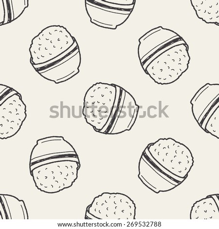 rice doodle seamless pattern background