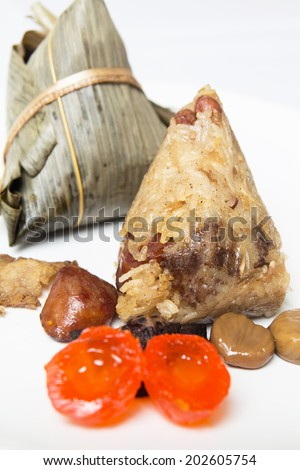 Rice dumpling, Chinese tamale on white background.