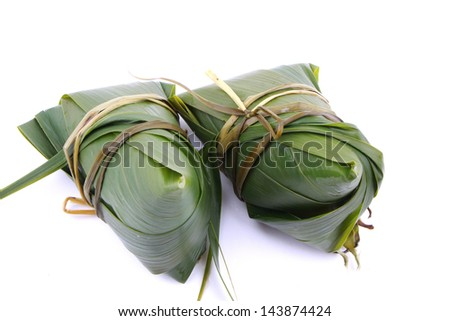 Rice dumpling on white background