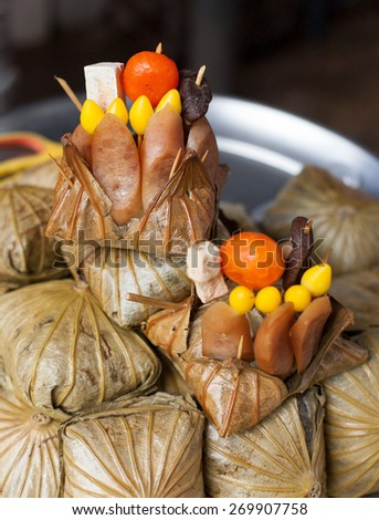 rice dumplings, traditional Chinese food - stock photo