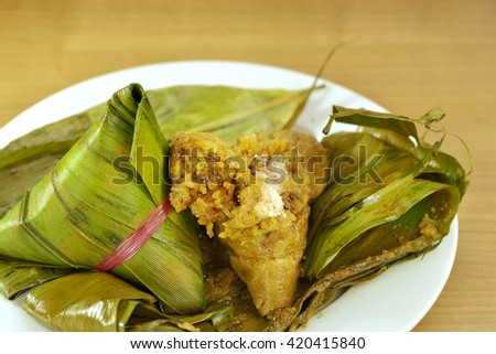 Rice dumplings with bamboo leaf, selective focus.