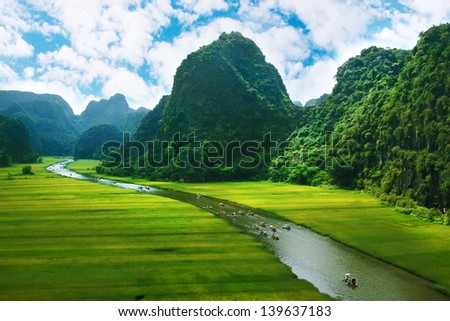 Rice field and river, NinhBinh, vietnam landscapes