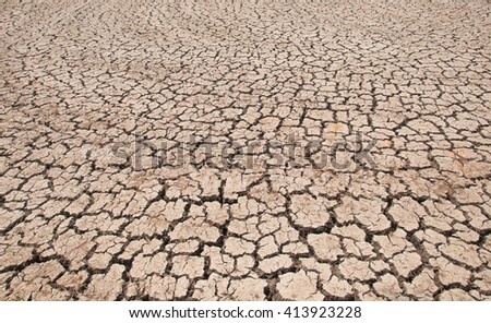 Rice field become drought due to summer season and no rain drop, Thailand - stock photo