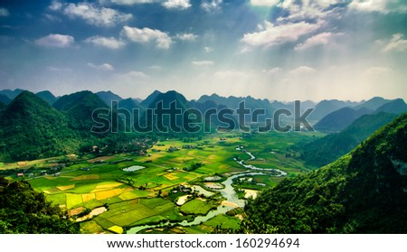 Rice field in harvest time in Bac Son valley, Lang Son, Vietnam - stock photo