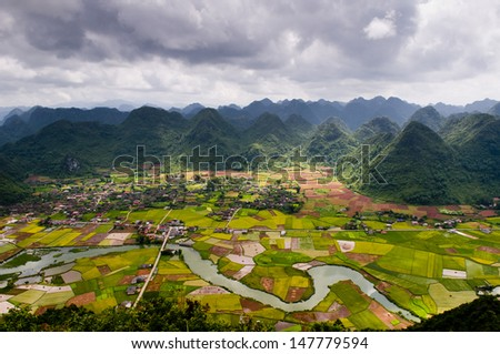 Rice field in valley in Lang Son, Vietnam  - stock photo