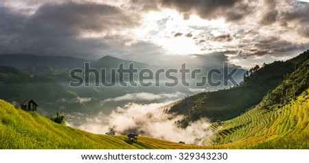 Rice fields on terraced of Mu Cang Chai District at sunrise time, YenBai province, Northwest Vietnam, worm tone