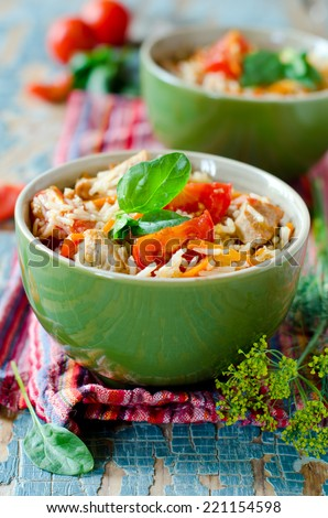 Rice fried rice with meat and vegetables - stock photo