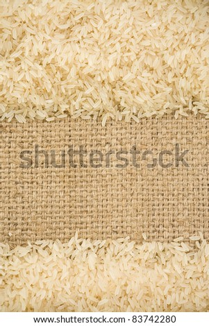 rice grain and sack background texture - stock photo