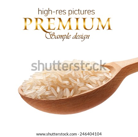 Rice in a wooden spoon / cereal on wooden spoons isolated on white background with place for your text  - stock photo