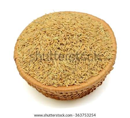 rice in basket isolated on white background - stock photo