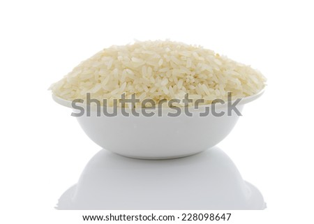 rice in cup isolated on white background