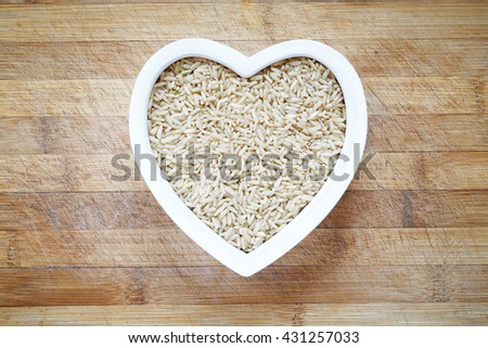 Rice in heart shape bowl