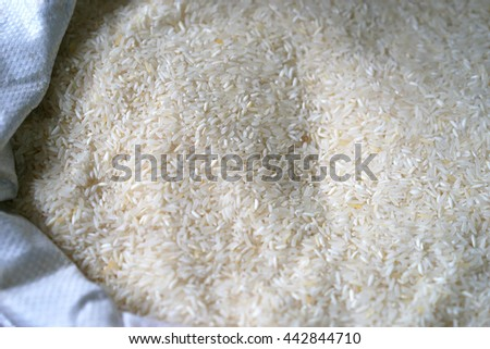 Rice in sacks at the market, Selective focus - stock photo