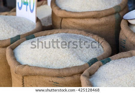 Rice in sacks in front of a business in Hua Hin.